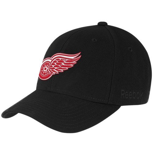 Detroit Red Wings Black BL Team Logo Wool Blend Adjustable Hat