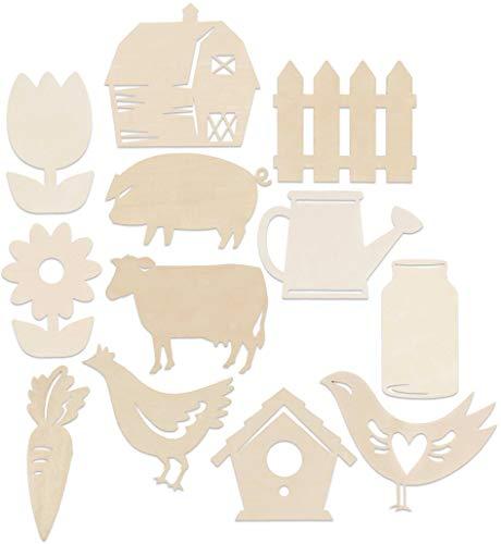 Set of 12 Farmhouse Barn Themed Wood Cutouts