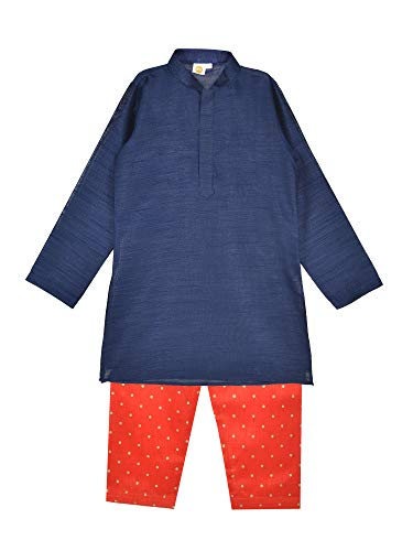 (K&U Boys' Dupion Silk Navy Blue & Red Kurta and Salwar Set)