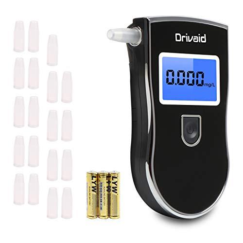 Drivaid Draagbare digitale alcoholtest met led-display, inclusief Breath analyzer, 20 mondstukken, 3 x AAA batterijen…