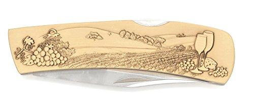 Brass Blade Custom Antique (DKC-1107-B NAPA VALLEY WINE Knife Custom Hand Engraved Minted In Antique Brass 4.5 oz 6.75