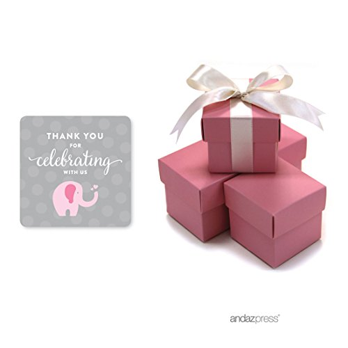 Baby Shower Treat Box (Andaz Press Pink Girl Elephant Baby Shower Collection, Favor Box DIY Party Favors Kit, Thank You for Celebrating With Us!, 20-Pack)