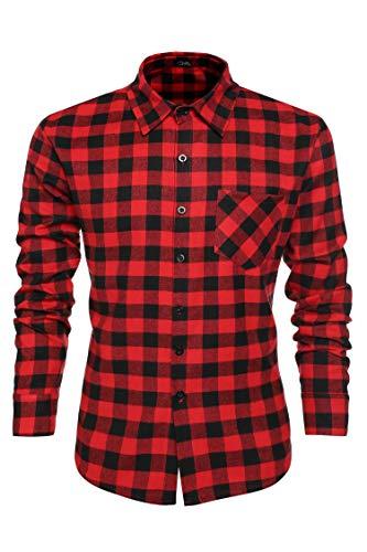 Coofandy Men Casual Button Down Shirt Long Sleeve Plaid Dress Shirts ()