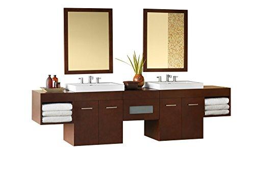 (RONBOW Bella 95 inch Double Bathroom Vanity Set in Dark Cherry, Bathroom Vanity Cabinet with Drawer and Adjustable Shelf, Dark Cherry Bathroom Mirrors, White Evin Bathroom Sink Top 011223-H01_Kit_2)
