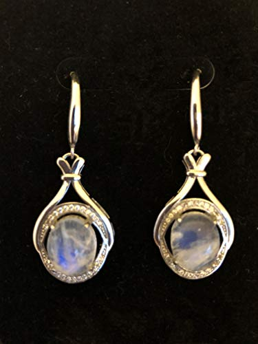 Moonstone White Earrings - Moonstone Earrings Blue Flash With Cubic Zirconia Accents, In White Gold