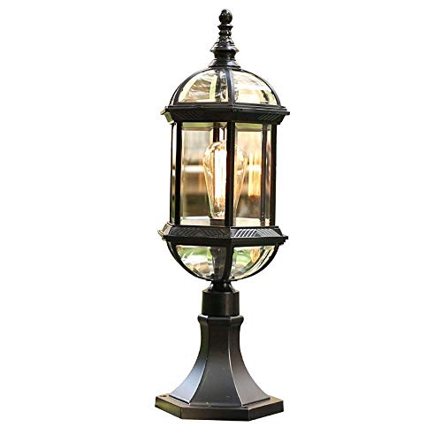 KLSJJ Contemporary Collection Exterior Outdoor Post Lantern with Beveled Clear ()