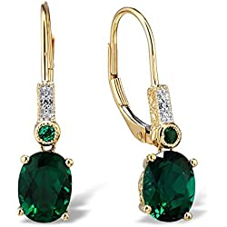 Created Emerald Drop Earrings Filigree Engraving Diamond Accent10k Yellow Gold Rhodium Plated Accents