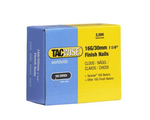 Tacwise 16G/30mm Straight Brad Finish Nails - (2500 box) F16