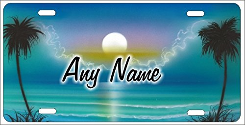 Airbrushed Car Tag (Personalized Airbrushed Turquoise Blue Beach Scene Novelty License Plate Custom Decorative Airbrush Front Plate)