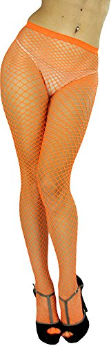(ToBeInStyle Women's Seamless Diamond Net Spandex Nylon Blend Pantyhose - ORANGE - One Size Regular)