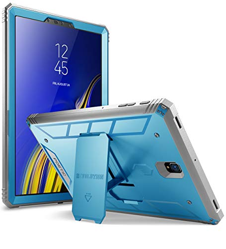 Galaxy Tab S4 10.5 Rugged Case, Poetic Revolution [360 Degree Protection] [Kick-Stand] Full-Body Rugged Heavy Duty Case with [Built-in-Screen Protector] for Samsung Galaxy Tab S4 10.5 Inch Blue (Best Protection For Samsung Galaxy S4)