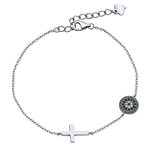 .925 Sterling Silver Sideways With Evil Eye Single Link Chain Cross Bracelet, 6.37