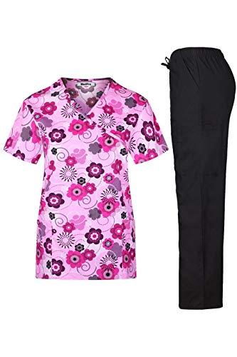 MedPro Women's Printed Medical Scrub Set Mock Wrap Top and Pants Hot Pink S (Wrap Paisley Mock)