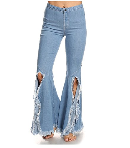 Women's Destroyed Bootcut Jeans Broken Tassels Rough Hem Light Blue XL