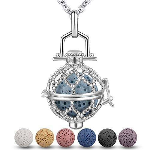 INFUSEU Dazzling Yoga Lotus Mandala Flower Essential Oil Aroma Diffuser Necklace, 5 Lava Rock Stones, Women Aromatherapy Jewelry Set