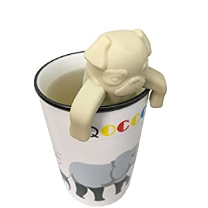 QOCOO 2 Pack FDA Standard Food Grade Silicone Tea Filter Cute and Funny Animal Pug Shape Tea Infuser Strainer for Mug or Cups to Make Loose Leaf Tea Bag Tea Green Tea Herbal Weight Loss Tea Beige