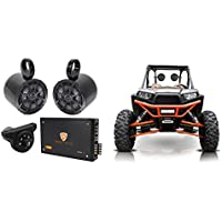 2) Kicker 6.5 Tower Speakers+4-Ch Amp+Bluetooth Contoller 4 Polaris RZR/ATV/UTV