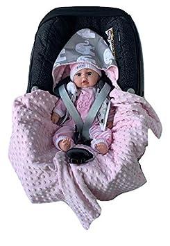 BABEES/© Einschlagdecke mit F/üllung f/ür Babyschale Autositz ganzj/ährige Universal z.B warm Minky Baby Decke mit Klettverschluss f/ür Kinderwagen Babytragen Babybett wattiert Maxi-Cosi R/ömer Cybex