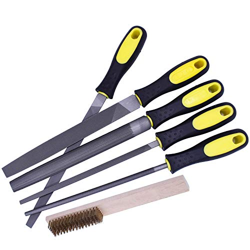 Fatmingo 8 inch High Carbon Steel Metal File Set Rubber Handles Flat Round Half Round Square Triangular Rasp Files for Metal, Woodwork, a Storage Pouch and a Cleaning Brush ()