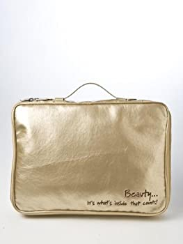 INNER BEAUTY EMBROIDERED 4 PIECE METALLIC GOLD LARGE TRAVEL COSMETIC CASE MAKEUP BEAUTY TOILETRY BAG HOLDER ORGANIZER