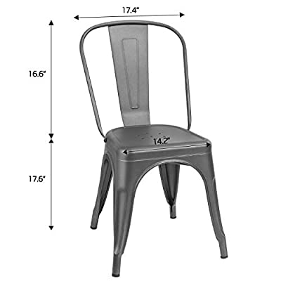 Furmax Metal Dining Chair Indoor-Outdoor Use Stackable Classic Trattoria Chair Chic Dining Bistro Cafe Side Metal Chairs