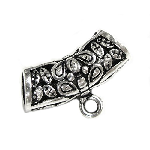 925 Sterling Silver Bali Flower Butterfly Leaf Curved Tube Pendant Connector Bail Sterling Silver Bali Tube