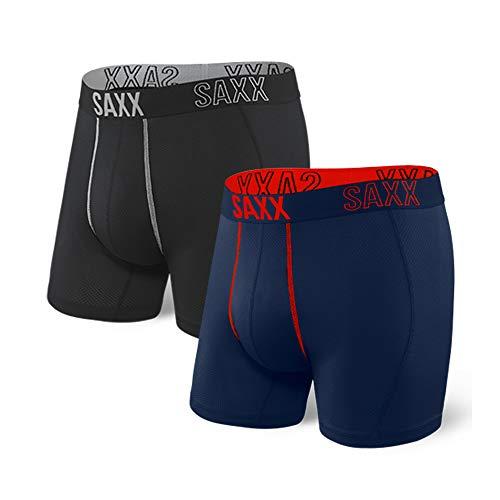 Saxx Underwear Men's Boxer Briefs - Shadow Men's Underwear - Boxer Briefs with Built-in Ballpark Pouch Support - Workout Boxer, Pack of 6 Black/Navy