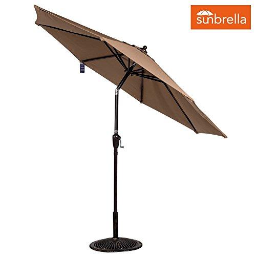 Sundale Outdoor 9 Ft Sunbrella Fabric Patio Garden Outdoor Market Umbrella ,Push Button Tilt and Crank (Camel)