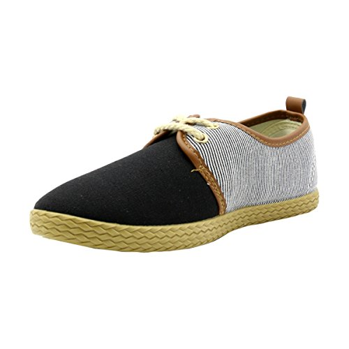 One O One-Women Casual Canvas Floral Lace Up Sneaker- Multi Black/Stripes yzHGO