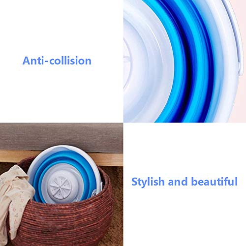 ETE ETMATE Mini Washing Machine With Foldable Tub Portable Personal Rotating Ultrasonic Turbines Washer USB Convenient Laundry for Camping Apartments Dorms RV Business Trip