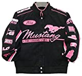 Ford Mustang Collage Ladies Pink Twill Jacket by JH Design