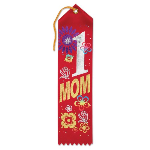 Beistle AR215 No.1 Mom Award Ribbons, 2 by 8-Inch, 6-Pack