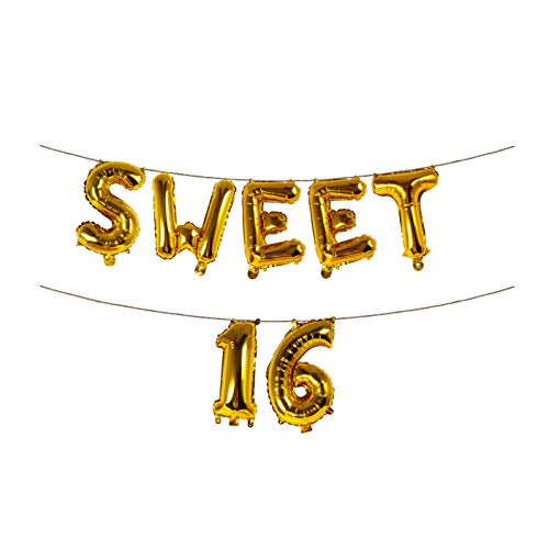 Sweet 16 Gold Banner Birthday Party Bunting Decorations 16 Inch Foil Letter Balloons Garland -