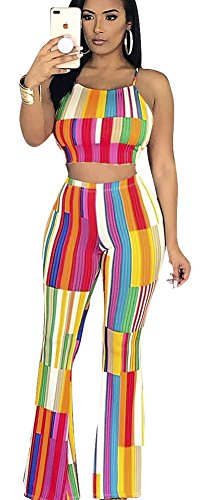 Women's 2 Pieces Outfit Striped Crop Top + Pants Set Rompers Playsuits Large