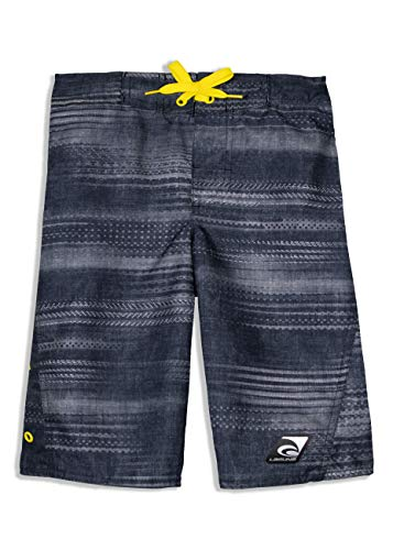 - LAGUNA Boys Speed Zone Boardshorts Swim Trunks, UPF 50+, Black/Yellow, 18/20