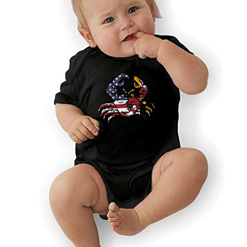 Baby Girl Short Sleeve Organic Bodysuits America Maryland Flag Crab Infant Romper Jumpsuit Black