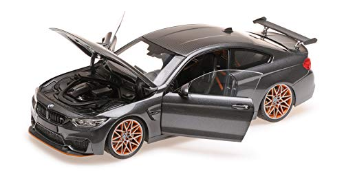 2016 M4 GTS Metallic Gray with Carbon Top and Orange Wheels Limited Edition to 402 Pieces Worldwide 1/18 Diecast Model Car by Minichamps 110025222