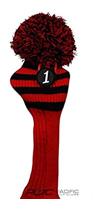 Pacific Golf Clubs Head Covers 1 Black and Red Knit Retro Old School Vintage Stripe Pom Pom Throwback Classic Driver Headcover