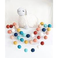 """""""Southwestern Sky"""" Adjustable Handmade Felt Ball Garland by Sheep Farm Felt- Pom Pom Garland. 1 inch balls. 7 feet long. 28 felt balls."""
