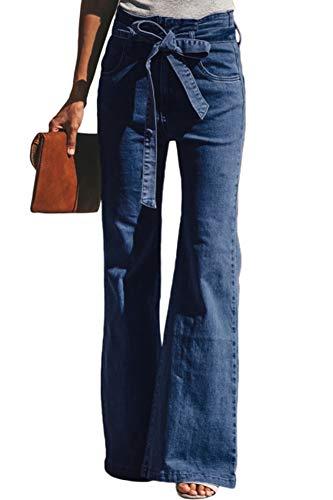 GARMOY Womens Skinny Bell Bottom Jeans Flare Wide Leg Slim Fit High Rise Denim Pants Blue 4