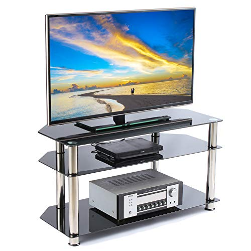 Rfiver Glass Corner TV Stand for Most 26 27 28 30 32 37 40 42 43 46 inch Plasma LCD Led OLED Flat/Curved Screen TVs, Black Tempered Glass and Chrome Tube, 3 Shelves TS1001 ()