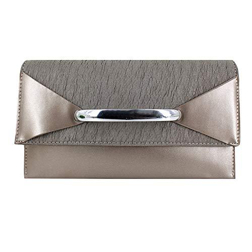 Metallic Patent Leather Clutch - Adela Women Evening Clutch Purse Metallic Patent Envelope Shoulder Bag, Silver