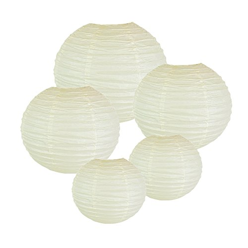Just Artifacts (CREAM) Chinese/Japanese Paper Lanterns (Assorted: (2) 8inch, (2) 12inch, (1) 16inch) - Click for more -