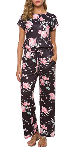RichCoco Women's Floral Printed Jumpsuit Casual O Neck Loose Long Wide Legs Pants Jumpsuit Rompers with Pockets (Black Short, L)