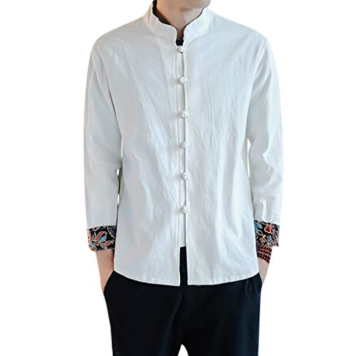 (Fashion Men's Cotton-Linen Short-Sleeved Top in Spring and Summer T Shirts White)