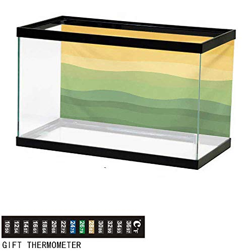 - wwwhsl Aquarium Background,Abstract,Green and Yellow Colored Wavy Lines Curves Earth Inspired,Mustard Amber Ginger Reseda Green Fish Tank Backdrop 36