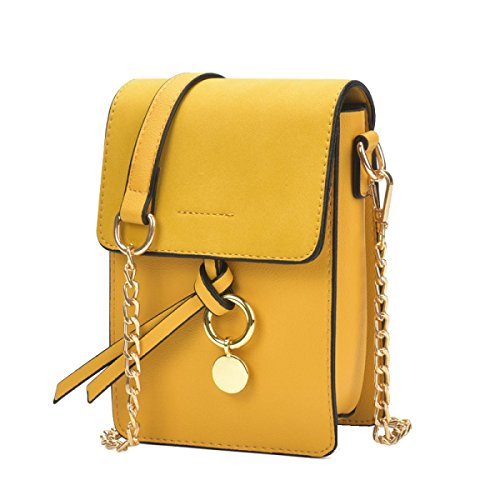 Yy.f Bolsas Mini-teléfono Nuevas Bolsas Bolsos De Moda La Bolsa De Anillo De La Cadena Paquete De Ondas Diagonal Del Hombro Varias Bolsas De Color Yellow