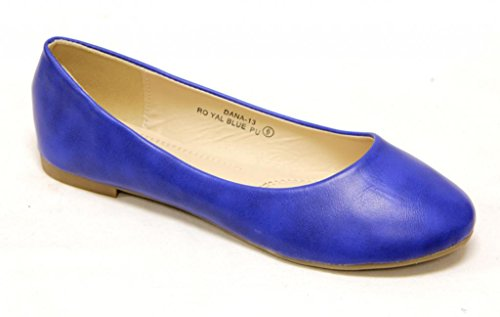 Comfortable Toe Slip Bella Shoes Flats Marie Womens Round Blue Classical Ballerina On q80fEF8