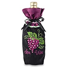 Epic 43-388 Black, Green & Purple Love Wine Design Fabric Bottle Gift Bag Set of 6