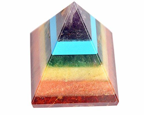 - CHAKRA PYRAMID STONE w/ 7 Chakra Stones ~ Red Jasper, Aventurine, Golden Quartz, Amethyst ~ 30-40mm Size by Wholesalegemshop